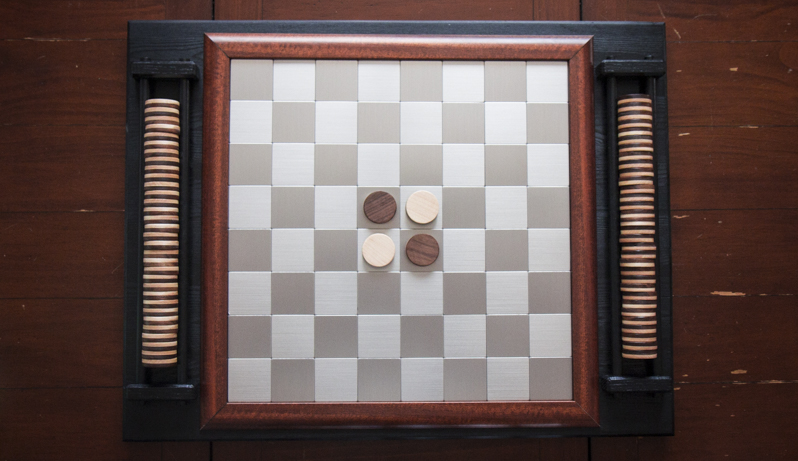 DIY Custom Walnut, Maple, hardwood and Stainless Othello (Reversi) Chess Checkers Board