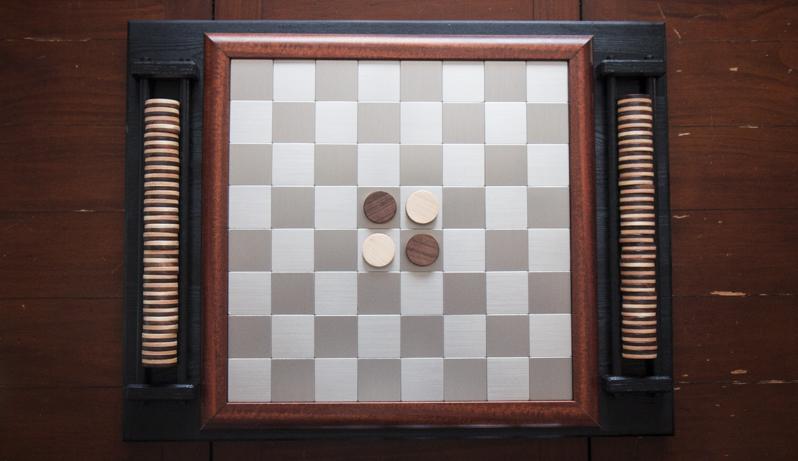 DIY Custom Walnut, Maple, hardwood and Stainless Othello (Reversi) Chess Checkers Board